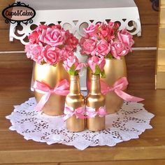 Cups&Cakes: Batizado Rosa, dourado e branco                                                                                                                                                                                 Mais Shower Party, Bridal Shower, Baby Shower, Floral Centerpieces, Floral Arrangements, Kate Spade Party, Bottle Crafts, Princess Party, Holidays And Events