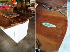 Wood table with turquoise inlay!!