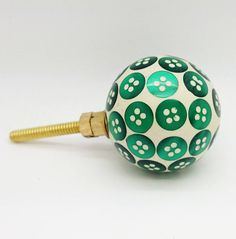 Green Buttons Door Knob Cupboard Drawer Pull Handle