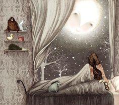 Peaking in, moon, her last goodbye. illustration by Lisa Evans. Art And Illustration, Art Fantaisiste, Good Night Moon, Night Time, Night Owl, Dark Night, Beautiful Moon, Beautiful Artwork, Beautiful Pictures