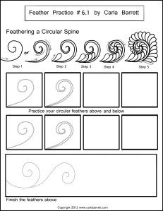 Feathering a Circular spine, feather practice by Carla Barrett Machine Quilting Patterns, Longarm Quilting, Free Motion Quilting, Quilting Tips, Quilting Tutorials, Quilt Patterns, Modern Quilting, Doodle Patterns, Zentangle Patterns