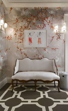 Gerald Pomeroy dining room detail --- hand-painted chinoiserie wallpaper, French settee, and graphic hand-painted floor