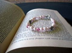 Pink Pearl Bracelet - Satin Pink Glass Pearls, Seed Beads, Genuine Swarovski Crystals and Antique Rondelles and Toggle Clasp - SUMMER SALE @LimeysTreasureChest $9.00 #jewelry #bracelet #pink #swarovski