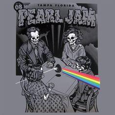 2008 Pearl Jam - Tampa Silkscreen Concert Poster by Ames AP Music Artwork, Art Music, Music Artists, Tour Posters, Band Posters, Music Posters, Retro Posters, Pearl Jam Posters, Estilo Rock
