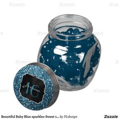 Beautiful Baby Blue sparkles Sweet 16 Jelly Belly™ or mints Glass Candy Jar by #PLdesign #Sweet16 #BlueSparkles #SparklesGift