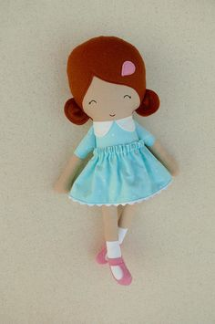 Fabric Doll Rag Doll Small 15 Inch Doll Red Haired Girl in