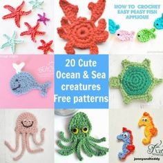 20 Easy, Cute, Free Ocean and Sea Creatures crochet applique patterns | CrochetStreet.com