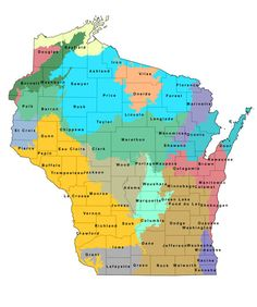 Wisconsin State County Map...I like to have one of these handy when there's a tornado warning.  I never know how close the county where the warning is to me.  LOL