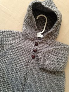 Grey Crochet Baby Sweater with Hood for Boy or Girl MADE TO