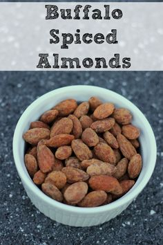Buffalo Spiced Almonds are the perfect spicy snack!                                                                                                                                                      More