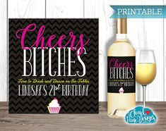 Birthday Wine Label  Personalized  Cheers by Cloud9DesignFL