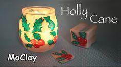 DIY Christmas lantern - Holly cane - Polymer clay tutorial
