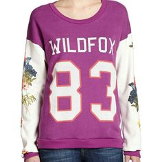 """Wildfox Wild 83 Campfire Sweatshirt NWT. Size small.  Color: Multi-colored flowers, """"Vintage Lace"""" sleeves and """"Magic"""" torso. Wildfox Sweaters"""