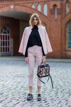 18 pretty in pink street styles: light pink pants suit