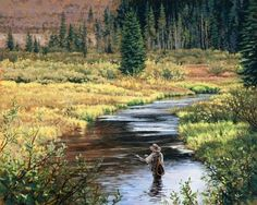 """""""Happy Hour"""" -Angling and Flyfishing Art by Dan Rickards"""