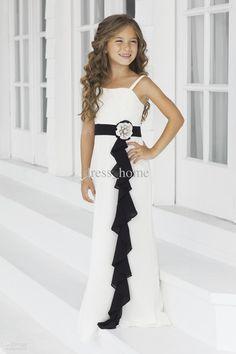 Wholesale Flower Girl - Buy Afforable A Line Spaghetti Straps Floor Length White Chiffon Black Belt Beads Pageant For Kids Beach Flower Girl Dresses For Wedding, $75.28 | DHgate