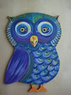Cute Owl canvas paint idea for wall decor. Canvas painting. Wall art. Personalize. Peacock coloring.