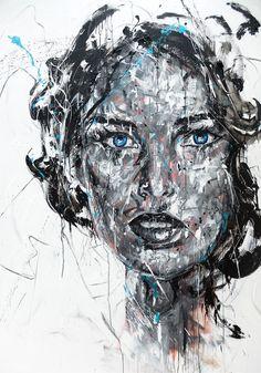 Lucile Callegari / LAGOON / Acrylique et fusain sur toile, 195x130cm, 2016.