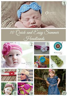 10 Quick and Easy Crochet Summer Headbands free patterns