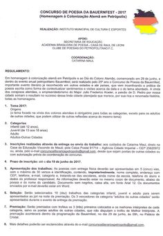 Diario Oficial Concursos literarios: Concurso De Poesia Da Bauerfest 2017 * Antonio Cab...