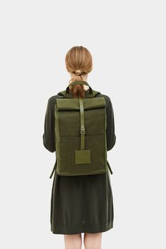 Top Roll Rucksack Dark Olive [Water-resistant]