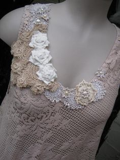 Vintage Kitty.. Lily Hannah..  tea dyed ecru.. upcycled lacey TUNIC vintage doilies.. super cute.. .. MED - XL