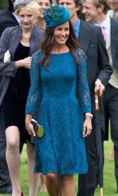 Pippa Middleton in a Tabitha Webb 'Daffodil' knee-length teal dress at the wedding of James Meade and Lady Laura Marsham