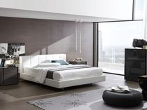 Double bed / contemporary / leather / upholstered