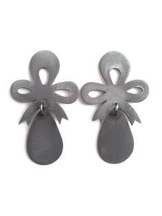 'Crown Jewels', earrings, 2013, zinc, steel, silver. Made by Malou Paul. www.maloupaul.nl