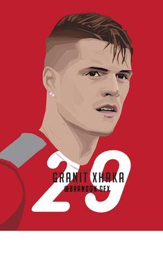 Xhaka Arsenal Players, Arsenal Fc, Football Art, Arsenal Football, Soccer Drawing, Granit Xhaka, Sports Art, Neymar, Premier League