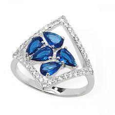 Sterling Silver Blue Stone with Cubic Zirconia