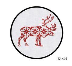 SALE Cross Stitch Pattern Red Christmas Deer Instant door TinyNeedle