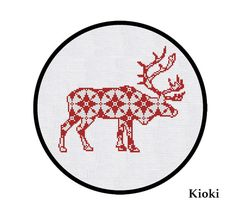 Cross Stitch Pattern Red Christmas Deer Instant Download