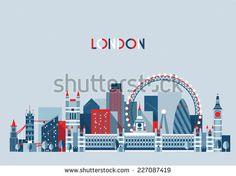 London (England) city skyline vector background. Flat trendy illustration. - stock vector