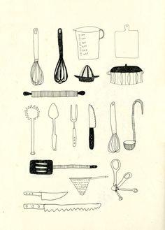 57 Ideas Kitchen Utensils Drawing Tools For 2019 Carta Restaurant, Sketch Note, Kitchen Art, Kitchen Drawing, Kitchen Tools, Kitchen Stuff, Drawing Tools, Sketching, Food Illustrations
