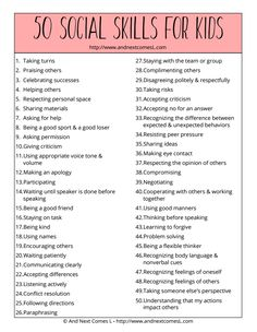 Free printable list of 50 social skills to teach kids from And Next Comes L