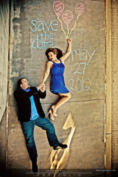 O.K. so how cute would it be to have a wave painted and you and Mr. P on a surfboard, riding the wave... with a plane flying over pulling a banner with a save the date message!  such a cute idea!