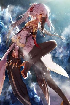 Anime picture 1024x1536 with blade & soul tagme (artist) long hair single tall image looking at viewer pink hair sitting yellow…
