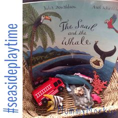 Storytelling basket for The Snail and the Whale by Julia Donaldson and Axel Scheffler. Used a shell in place of a snail, plastic animals which feature in some of the visited places and a fire engine. Perfect to use alongside the story or independently for imaginative play.