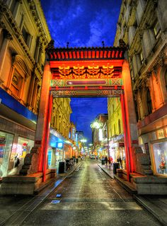 Chinatown, Melbourne. Another Australian blue hour shot, this time at dusk: the Chinatown arch in Little Bourke Street in Melbourne, in HDR, by 5ERG10.