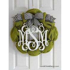 Fall Door Wreaths in Green Burlap with a Monogram Initials on Etsy, $125.00