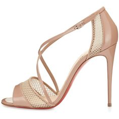Christian Louboutin Slikova Patent Mesh Red Sole Sandal ($955) ❤ liked on Polyvore featuring shoes, sandals, open toe high heel sandals, criss-cross sandals, nude high heel sandals, patent leather sandals and ankle tie sandals