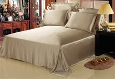 Lilysilk 100 seamless, washable, silk bedsheets in taupe color are on sale in twin, queen and king. #flat #sheet #lilysilk