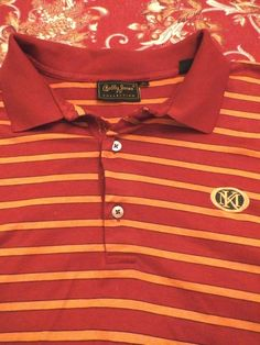 BOBBY JONES golf shirt Men's polo XL GOLFERS PLACKET Red Striped 100% Cotton #BobbyJones #PoloRugby
