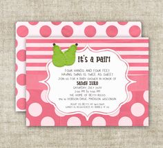 It's A Pair TWIN Girl BABY SHOWER Invitations by CardtopiaDesigns, $13.50