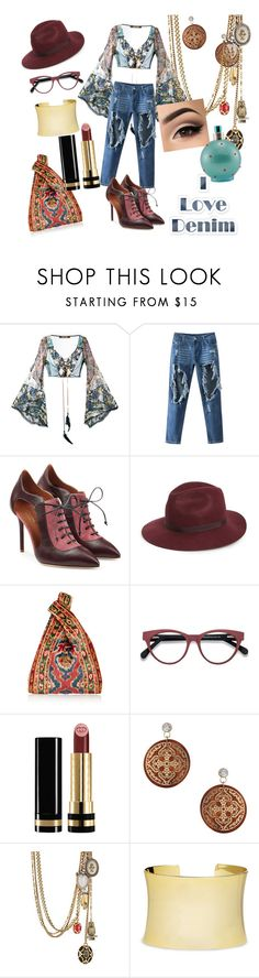 """I love denim 1"" by gigiglow ❤ liked on Polyvore featuring Roberto Cavalli, Malone Souliers, Topshop, Gucci, Miss Selfridge, Alexander McQueen, Nordstrom and Britney Spears"