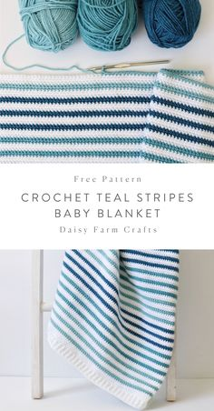 Free Crochet Blanket Pattern - Teal Stripes Baby Blanket I'm never disappointed when I use Paton's Canadiana yarn for a baby blanket! I just love how soft the yarn… Crochet Afghans, Crochet Blanket Patterns, Crochet Stitches, Free Crochet, Knitting Patterns, Kids Crochet, Striped Crochet Blanket, Crochet Cats, Crochet Birds