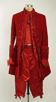 Colonial-inspired devil's ensemble, constructed of red silk velvet and various synthetics (Brooks Costume Company), circa 1953. Metropolitan Museum of Art.