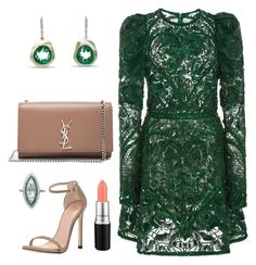 """Green Lace Dress"" by arta13 on Polyvore featuring Elie Saab, MAC Cosmetics, Yves Saint Laurent and Stuart Weitzman"