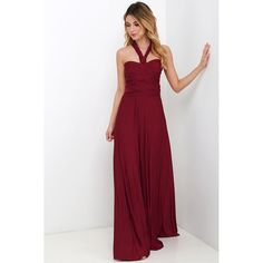 Always Stunning Convertible Burgundy Maxi Dress ($58) ❤ liked on Polyvore featuring dresses, gowns, red, long skirts, long maxi skirts, red maxi skirt, long white gown and long wrap skirt